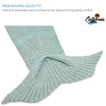 Mermaid Tail Blanket for Adult Wave Pattern Anti-Slip Neck Strap