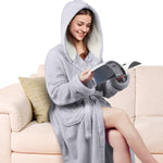 Fleece Bathrobe with Hooded Pocket Women's  Long Sherpa Lined