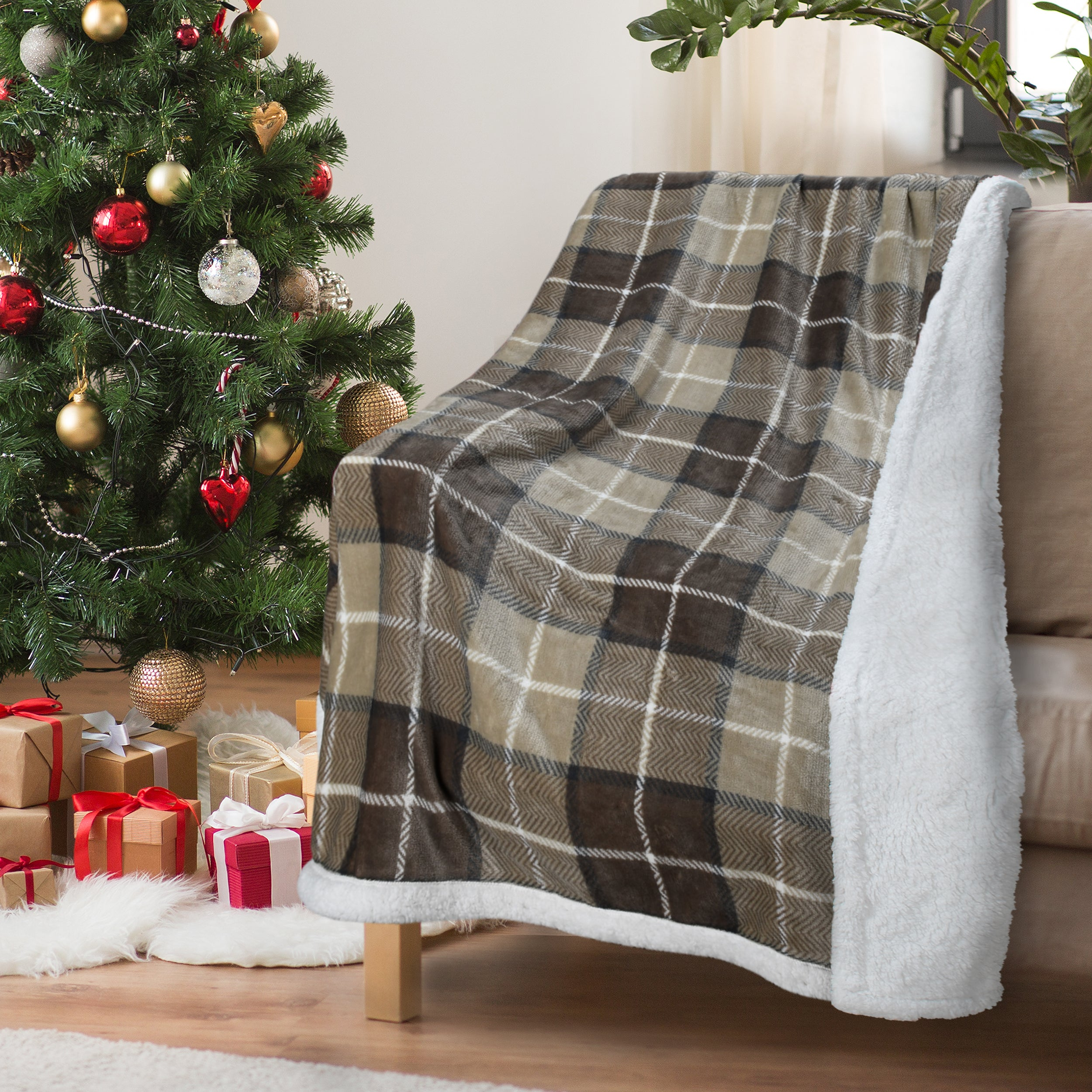 Plaid Sherpa Throw Plush Blanket for Bed and Couch