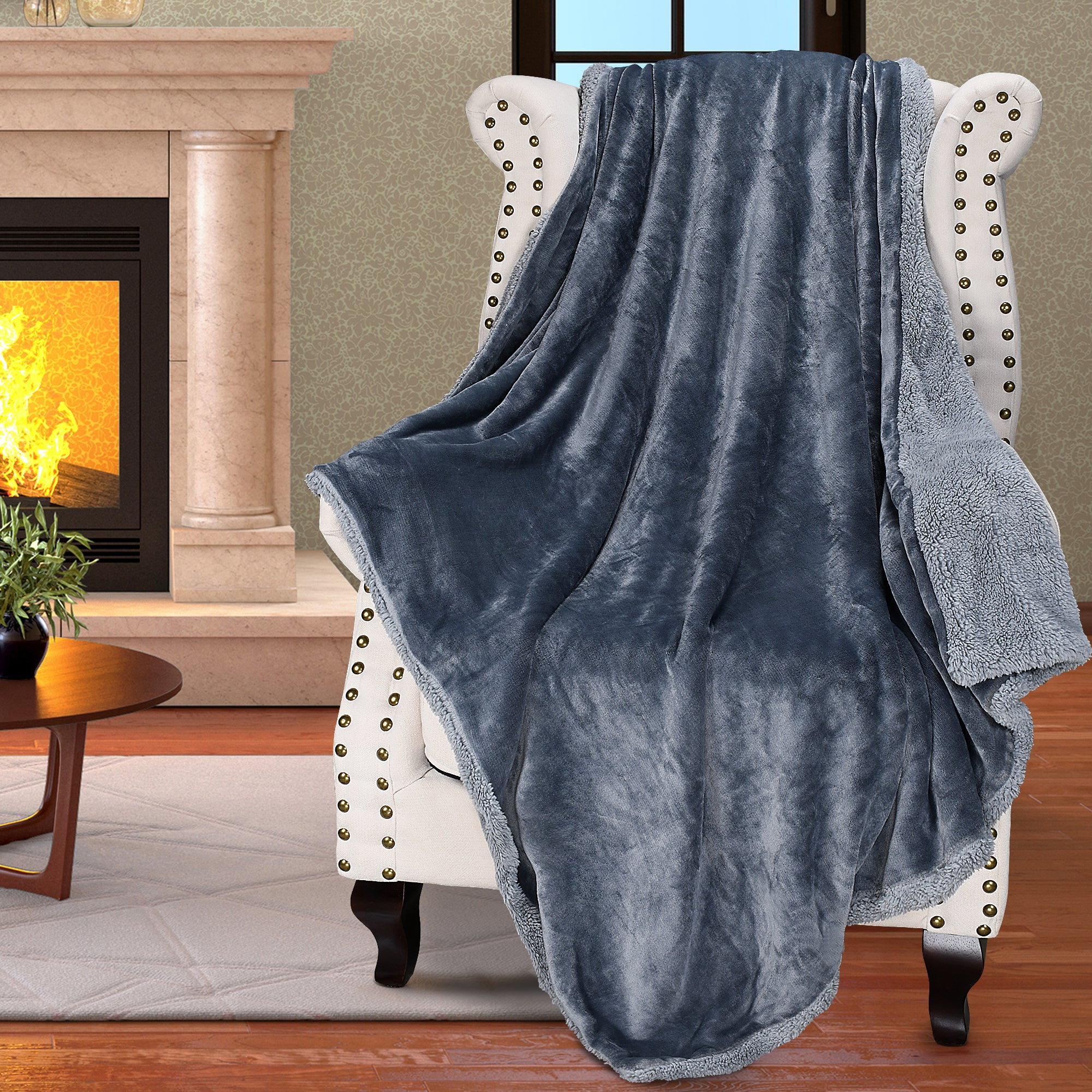 Throw Blanket with Reversible Match Color Fuzzy Micro Plush Sherpa