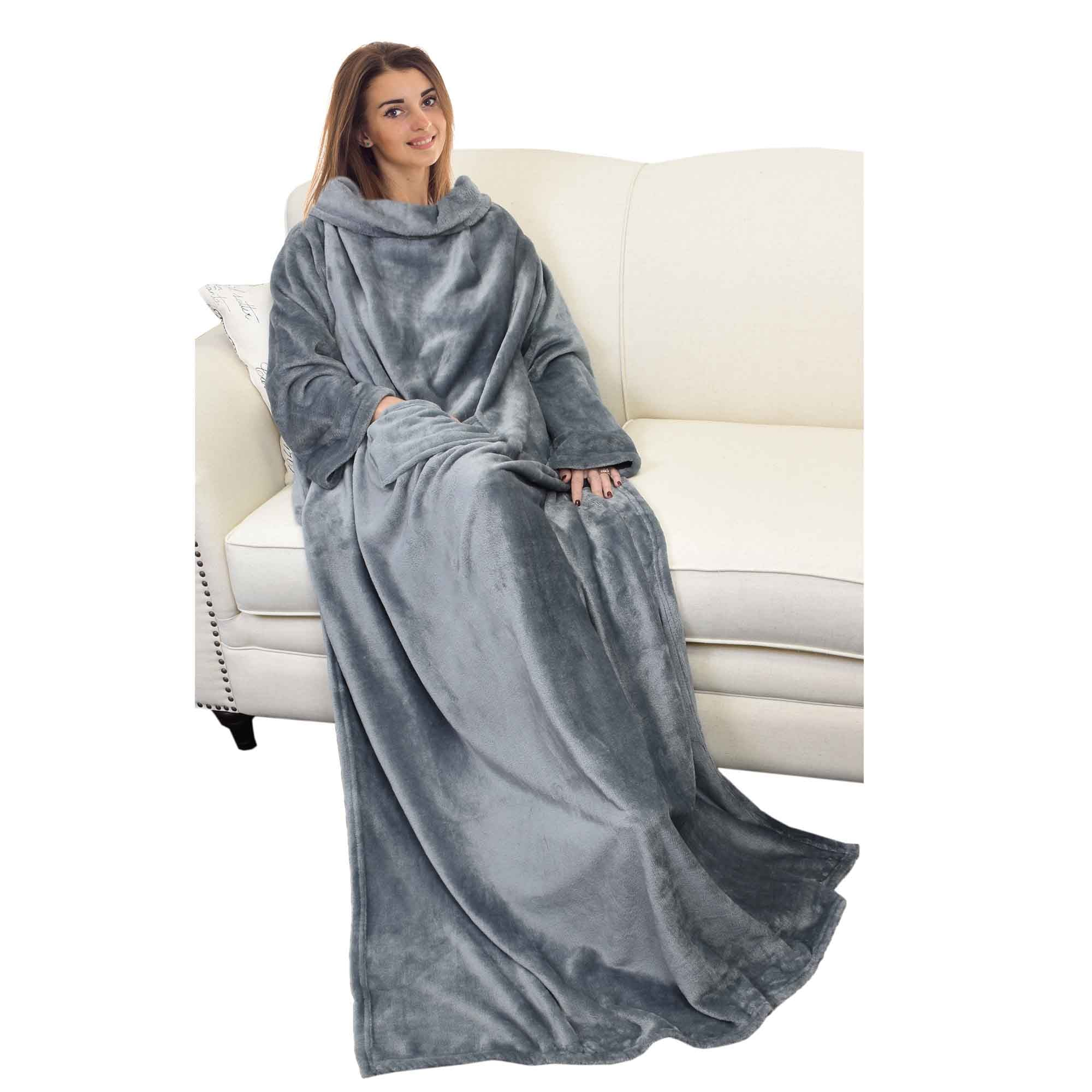 Wearable Blanket Throw Robe Micro Plush Mink Fleece with Sleeves