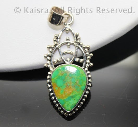 Green Turquoise Sterling Silver Pendant