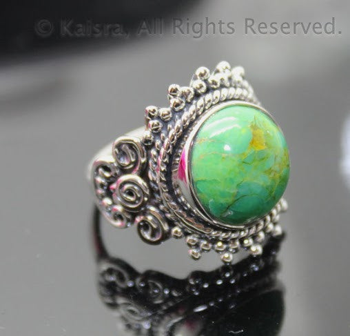 Green Turquoise Sterling Silver Ring