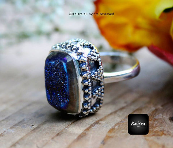Drusy Sterling Silver Ring