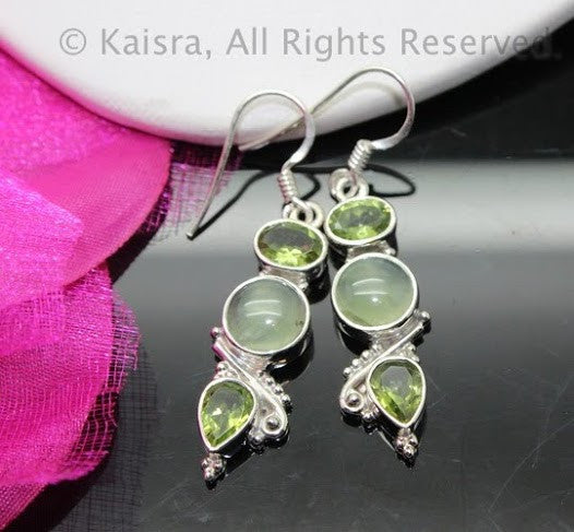 Prehnite Earrings, Sterling Silver Gemstone Earrings