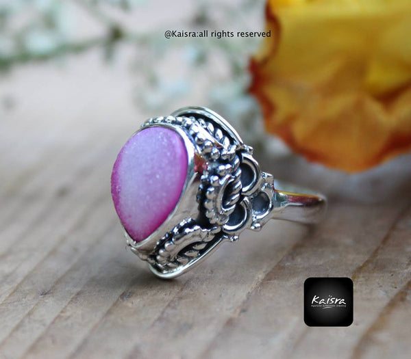 Pink Drusy Sterling Silver Ring