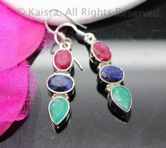 Ruby, Sapphire, Emerald Earrings, Sterling Silver Gemstone Earrings
