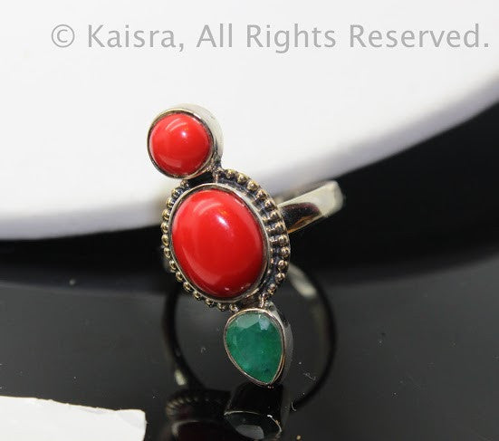 Coral, Emerald Sterling Silver Ring