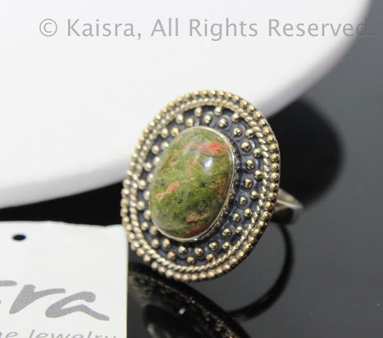 Unakite Sterling Silver Ring