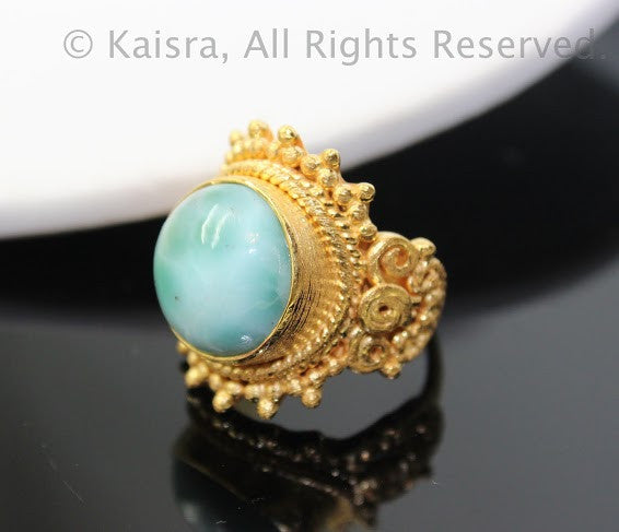 Larimar Ring, 925 Sterling Silver with 18KGP Ring