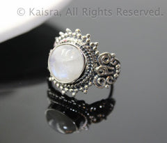Moonstone Ring, 925 Sterling Silver Ring