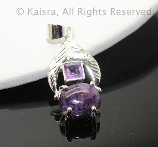 Charoite, Amethyst Sterling Silver Pendant