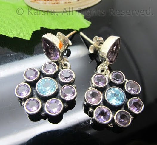 Amethyst, Blue Topaz Earrings, Sterling Silver Gemstone Earrings