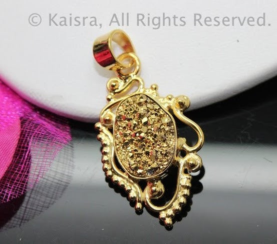 Gold Drusy Sterling Silver Pendant