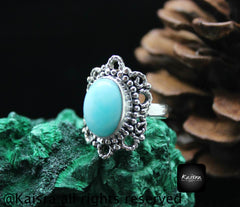 Larimar Ring, 925 Sterling Silver Gemstone Ring