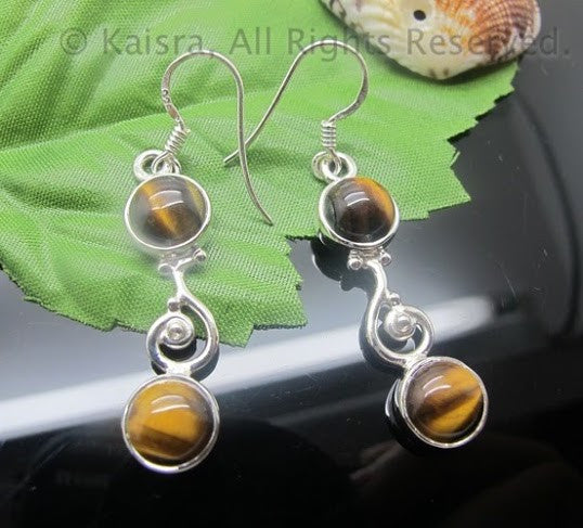 tiger eye gemstone healing earrings