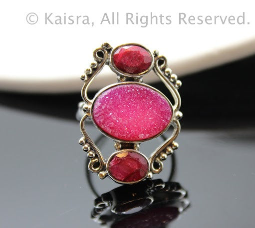 Ruby, Pink Drusy Sterling Silver Ring