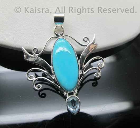 Turquoise, Blue Topaz Sterling Silver Pendant