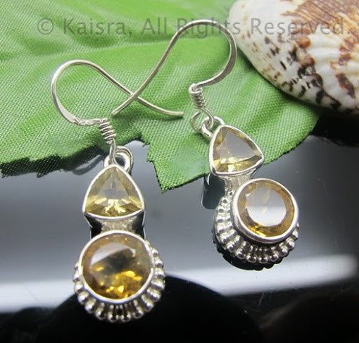 Citrine Earrings, Sterling Silver Gemstone Earrings