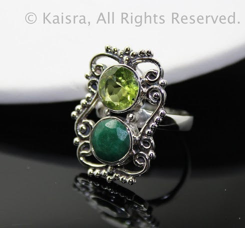 Peridot, Emerald Sterling Silver Ring