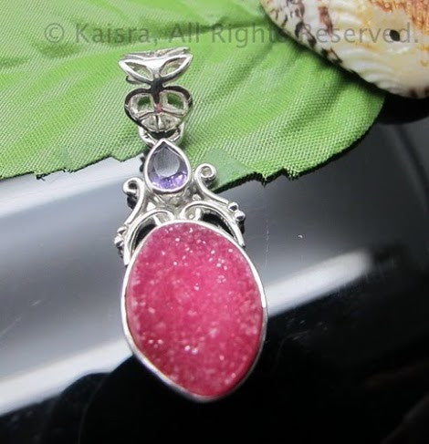 Pink Drusy, Amethyst Sterling Silver Pendant