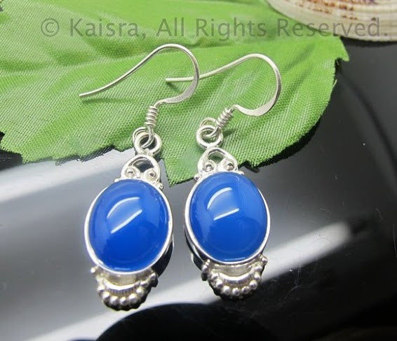 Blue Onyx Earrings, Sterling Silver Gemstone Earrings