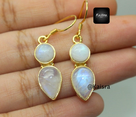 moonstone gold plated earrings