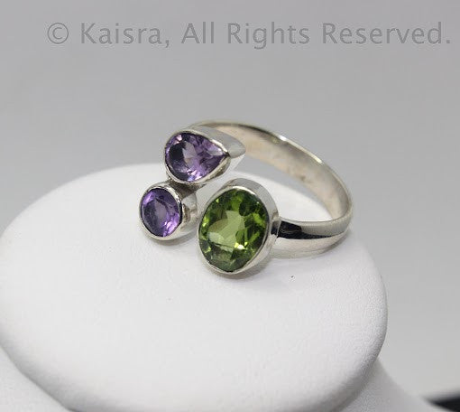 Amethyst, Peridot Sterling Silver Ring