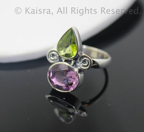 Peridot, Amethyst Sterling Silver Ring