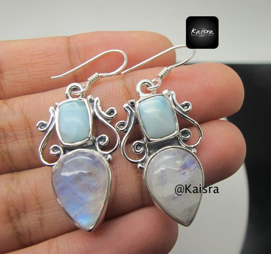 Moonstone, Larimar Earrings, Sterling Silver Gemstone Earrings