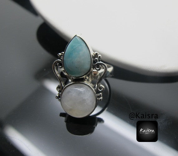 Moonstone, Larimar 925 Sterling Silver Ring