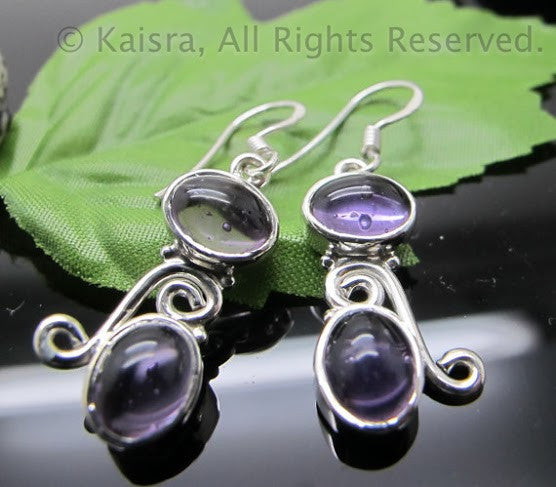 Amethyst Earrings, Sterling Silver Gemstone Earrings