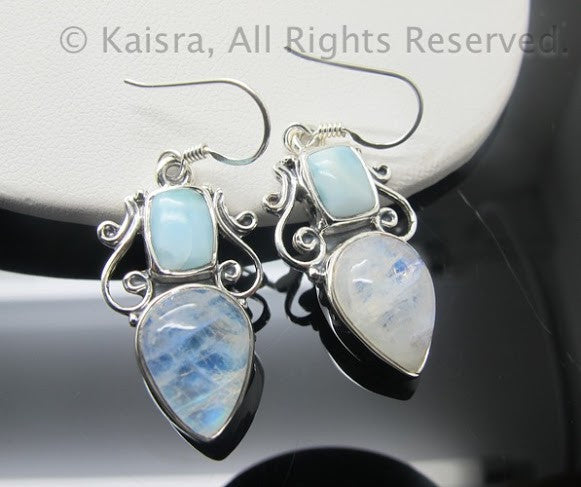 larimar moonstone earrings