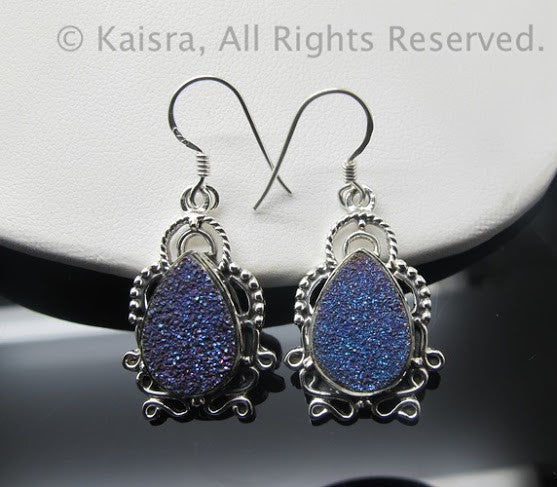 Drusy Earrings, Sterling Silver Gemstone Earrings