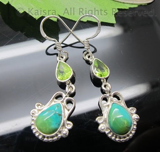 Green Turquoise, Peridot Earrings, Sterling Silver Gemstone Earrings