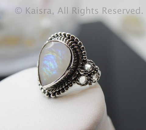 Moonstone Ring, Sterling Silver Ring