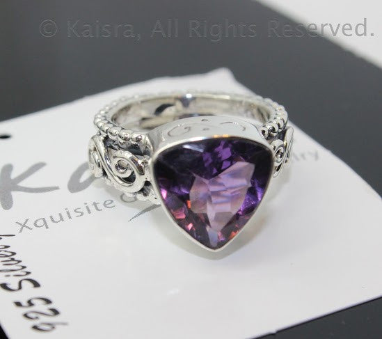Amethyst Ring, Sterling Silver Ring
