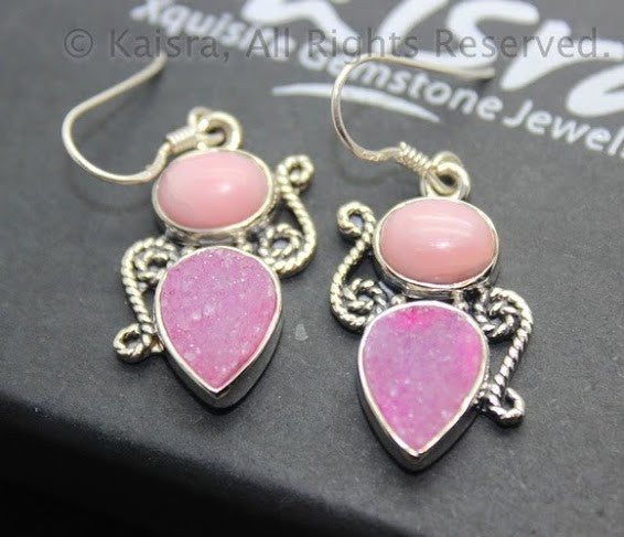 Rhodochrosite, Pink Drusy Earrings, Sterling Silver Gemstone Earrings