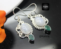 moonstone emerald earrings