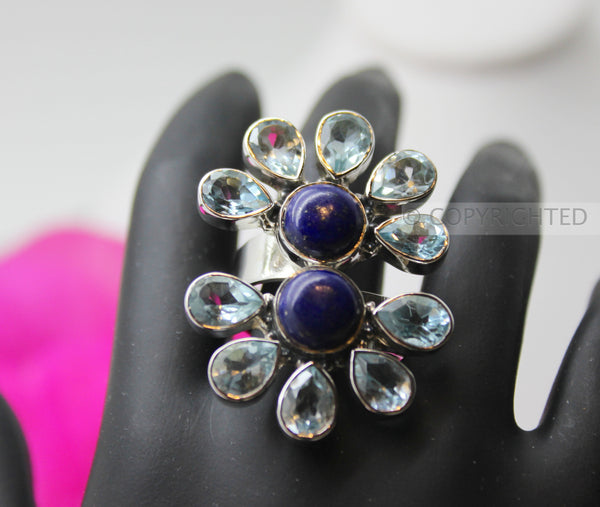 Lapis Lazuli, Blue Topaz Sterling Silver Ring
