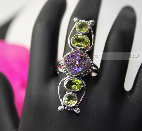 Drusy, Peridot 925 Sterling Silver Ring
