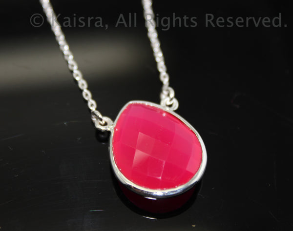 Pink Onyx Sterling Silver Necklace