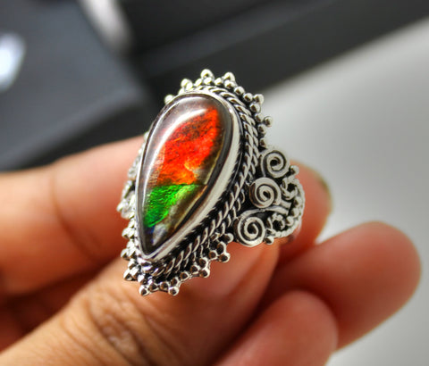 Ammolite Ring, Sterling Silver