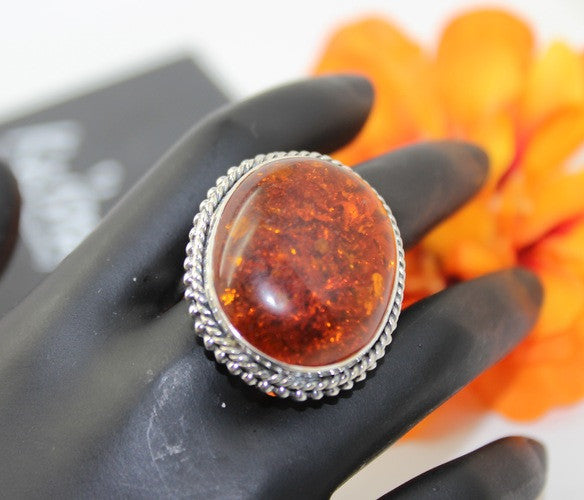 Amber Ring, 925 Sterling Silver Gemstone Ring