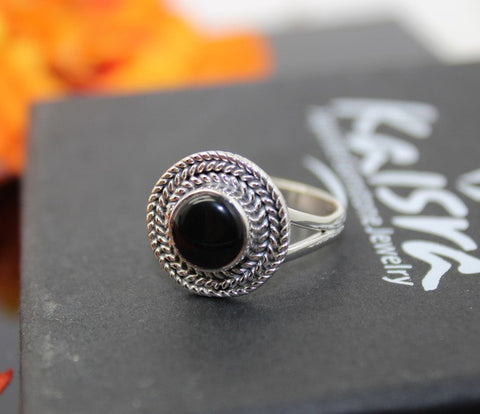 black onyx sterling silver rings