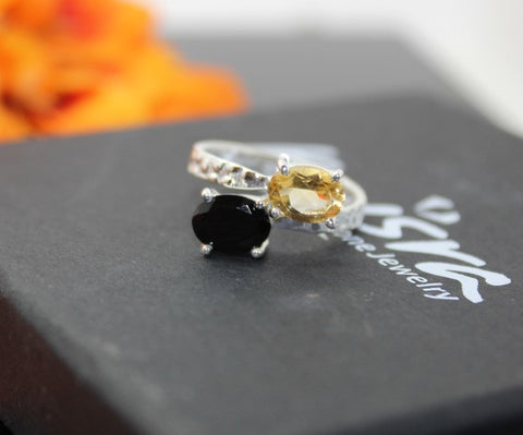 Onyx and Citrine ring