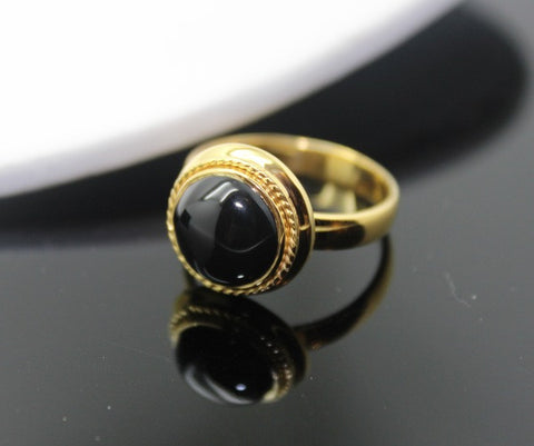 gold black onyx ring