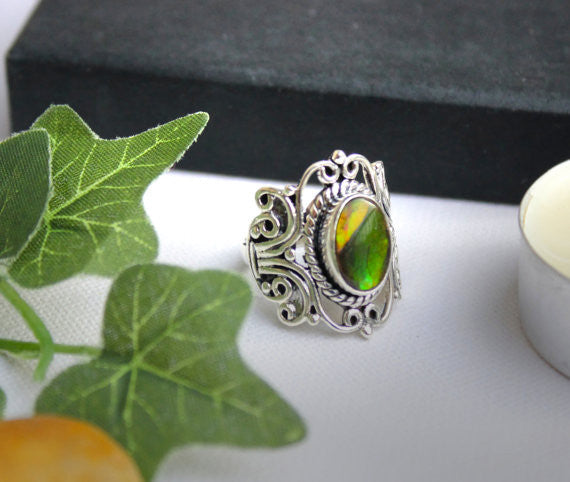 Ammolite Ring Sterling Silver