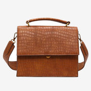 Able Crossbody Flap Bag with Top Handle Brown Croc