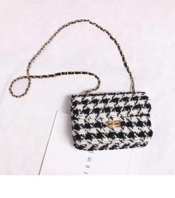 Camille Houndstooth Tweed Crossbody Bag with Chain